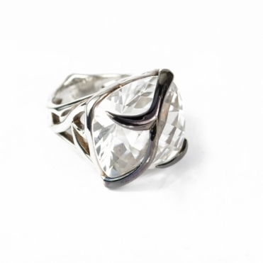 Silver Rapture Cushion Cut Quartz Ring - Size P