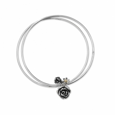 Silver Rose Garden Bangle