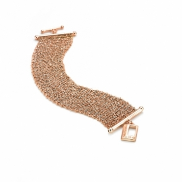 Silver & Rose Gold Scarf Bracelet