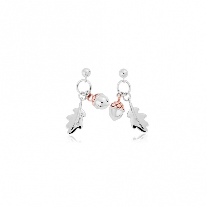 Silver Royal Oak Drop Earrings