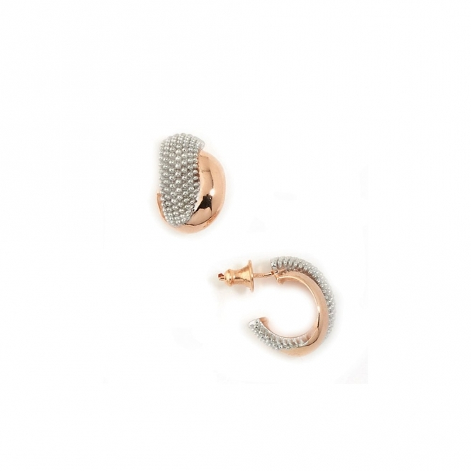 Silver Ruthenium & Pink Gold 2 Strand Pixel Earrings