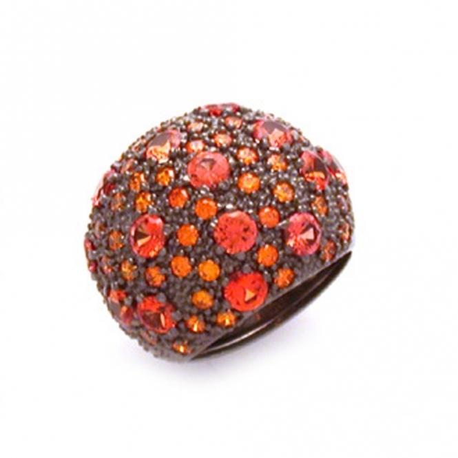 Silver & Ruthenium Stardust Orange Cubic Zirconia Ring