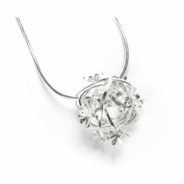 Silver Scribbles Necklace Ball