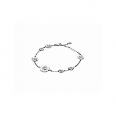 Silver White Daisy Bracelet