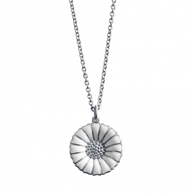 Silver White Daisy Pendant and Chain