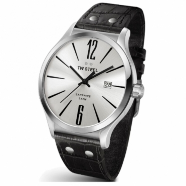 Slim Line 45mm quartz 3 hands watch with silver dial and black leather pin-buckle strap