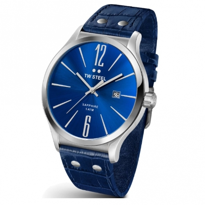 Slim Line gents quartz watch 45mm case with blue dial and blue calf leather strap - TW1302
