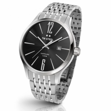 Slim Line Gents Quartz Watch 45mm Steel Case and Bracelet. Black dial - TW1306