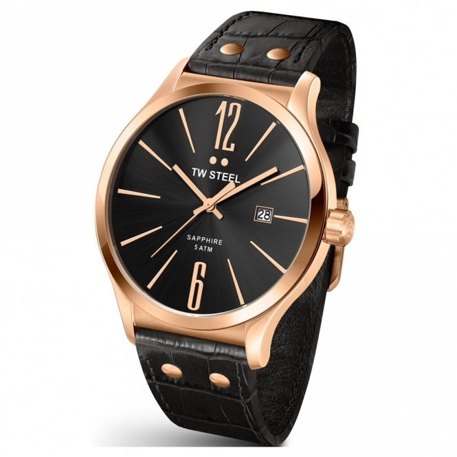 Slim Line Rose Gold PVD Gents Quartz Watch with Black Dial and Black Leather Strap - TW1303