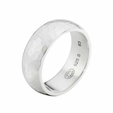 Smithy Sterling Silver Hammered Finish Men's Ring