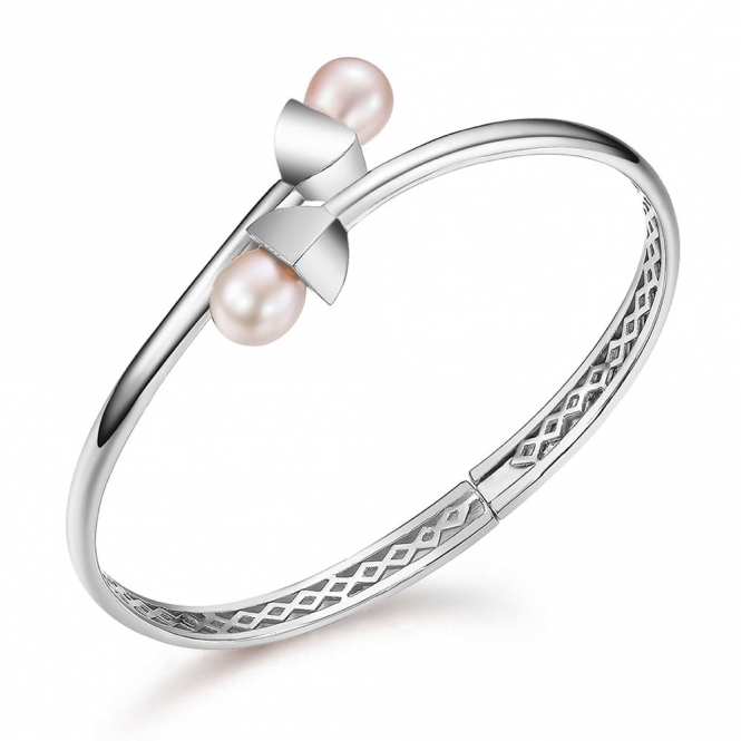 Snowdrop Pearl Bangle in Rhodium Finish