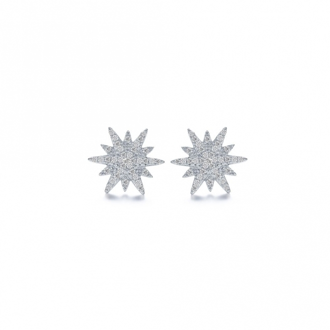 Snowflake Festive Star Sterling Silver Earrings