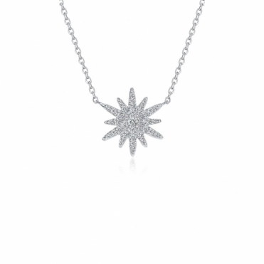 Snowflake Festive Star Sterling Silver Pendant
