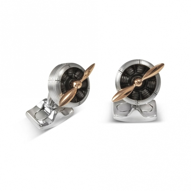 Sopwell Engine Cufflinks with Rose Gold Props