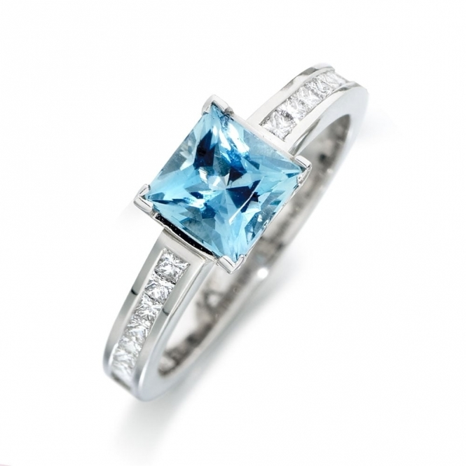 Square Cut Aquamarine and Diamond Ring