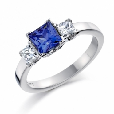 Square Cut Sapphire and Diamond Ring