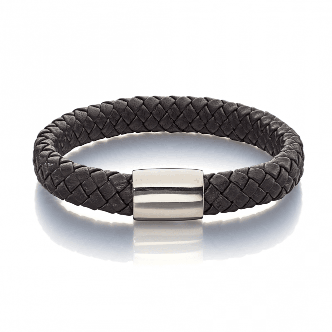 Stainless Steel Brook Mens Leather Bracelet