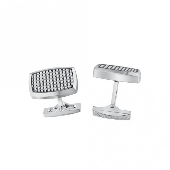 Stainless Steel Cufflinks with Diamond-Cut Head with Palladium finish
