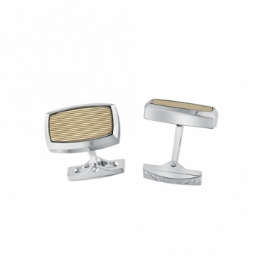 Stainless Steel Cufflinks with Palladium and Gold Finish on Horizontal Grooves