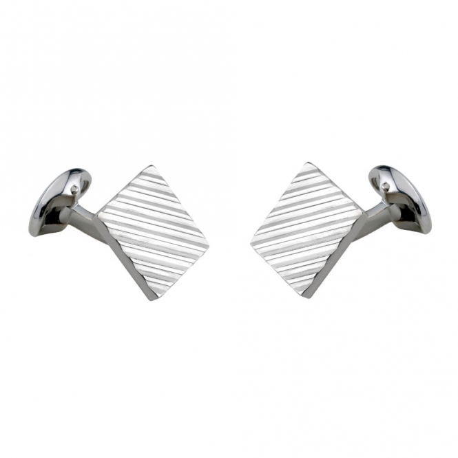 Sterling Silver 15mm Engine Turned Square Cufflinks