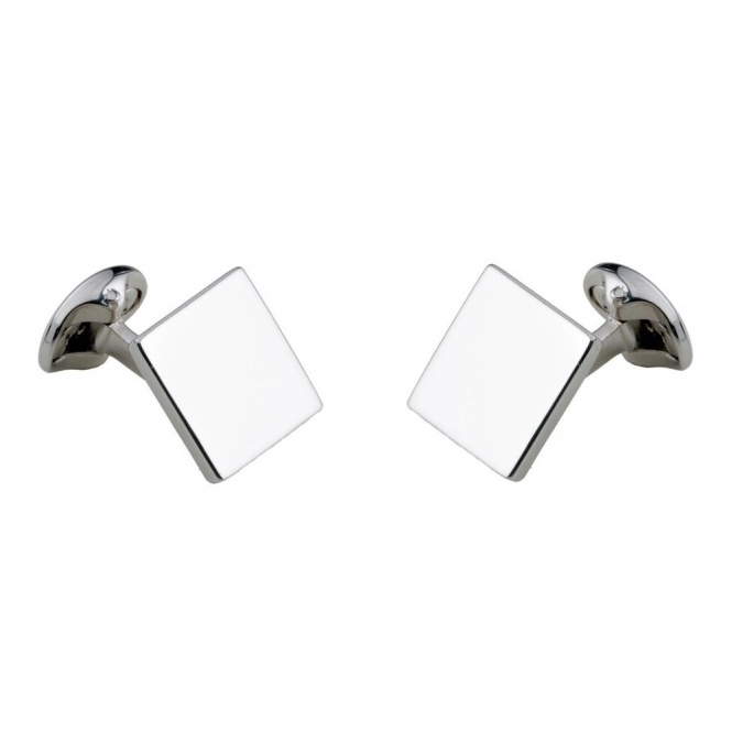Sterling Silver 15mm Plain Square Spring Link Cufflinks