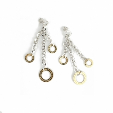 Sterling Silver & 18ct Yellow Gold Multi Drop Charm Earrings