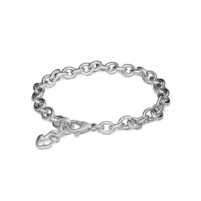 Sterling Silver Adjustable Heart Charm Bracelet