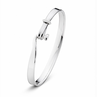 Sterling Silver and 18ct White Gold Torun Diamond Set Bangle