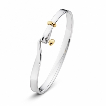 Sterling Silver and 18ct Yellow Gold Torun Bangle
