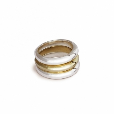 Sterling Silver and 9ct Yellow Gold Eclipse Stacking Ring
