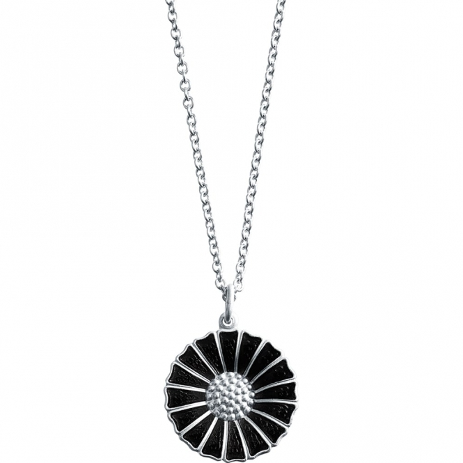 Sterling Silver and Black Enamel Daisy Pendant