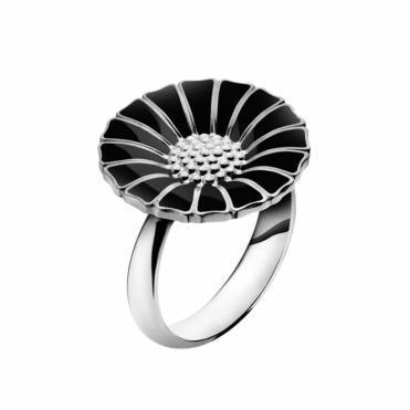 Sterling Silver and Black Enamel Daisy Ring