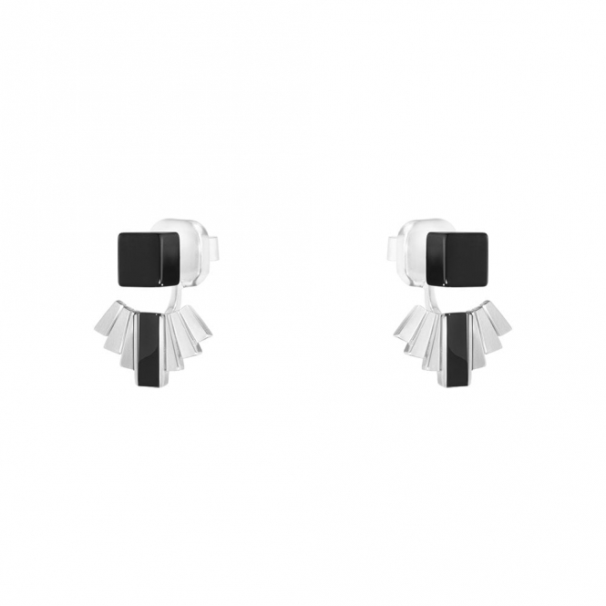 Sterling Silver and Black Onyx Aria Fan Earrings