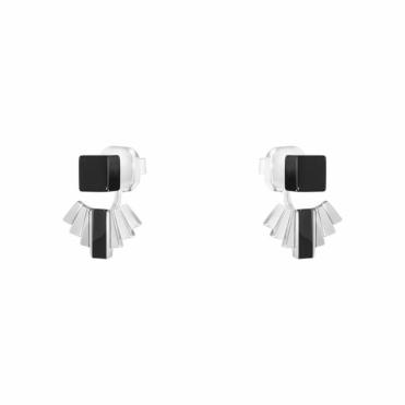 Sterling Silver and Black Onyx Aria Fan Earrings