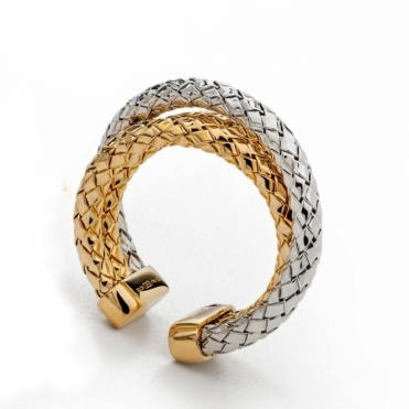 Sterling Silver and Gold Vermeil Treccia Ring