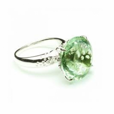 Sterling silver and round Green Amethyst ring