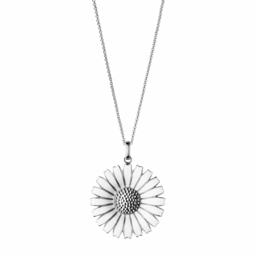 Sterling Silver and White Enamel Daisy Pendant