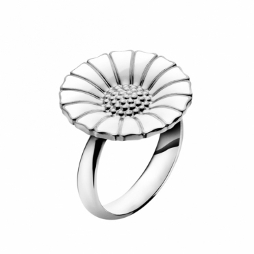Sterling Silver and White Enamel Daisy Ring
