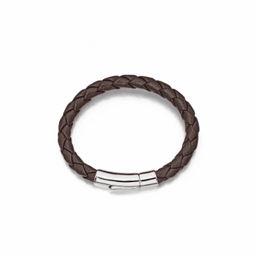 Sterling Silver Andre Boys Leather Bracelet