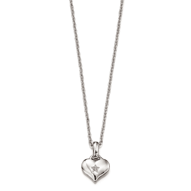 Sterling Silver Bella Diamond Heart Pendant