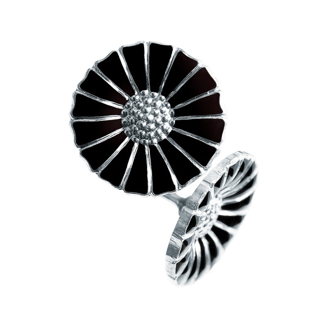 Sterling Silver Black Enamel Daisy Stud Earrings
