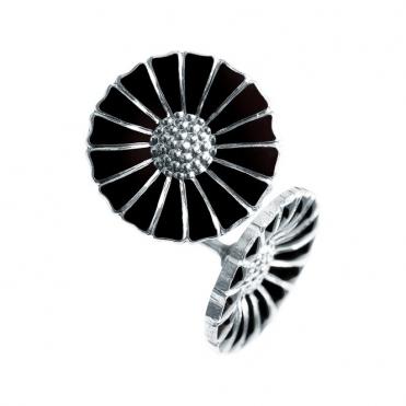 Sterling Silver Black Enamel Daisy Stud Earrings