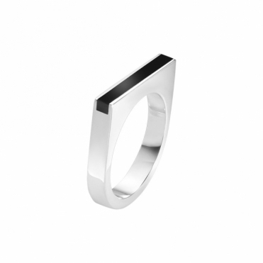 Sterling Silver & Black Onyx Slim Ring