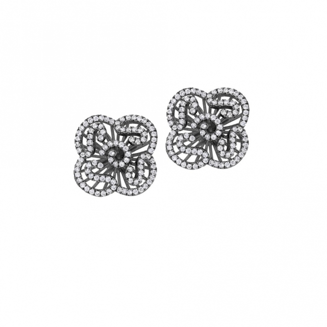 Sterling Silver Black Rhodium Mini Cascade Earrings