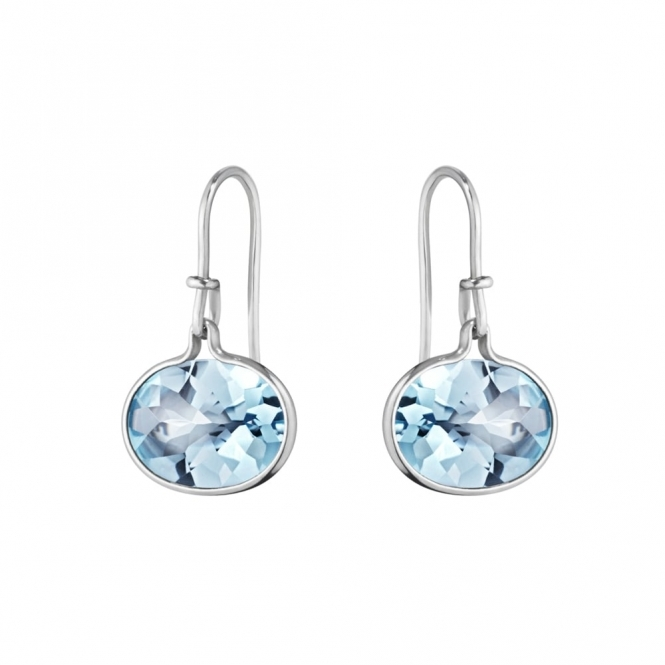 Sterling Silver Blue Topaz Savannah 628A Earhooks