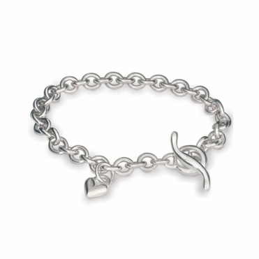 Sterling Silver Classic Heart Charm Trace Chain Bracelet