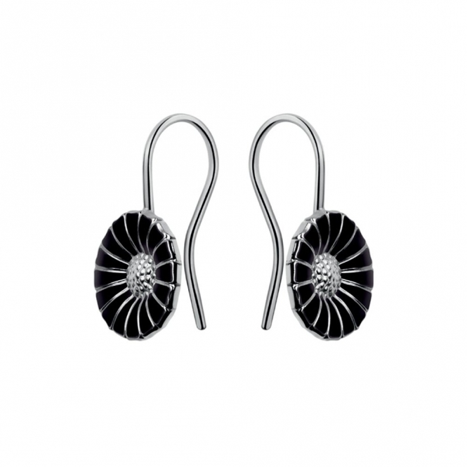 Sterling Silver Daisy Black Enamel Earrings