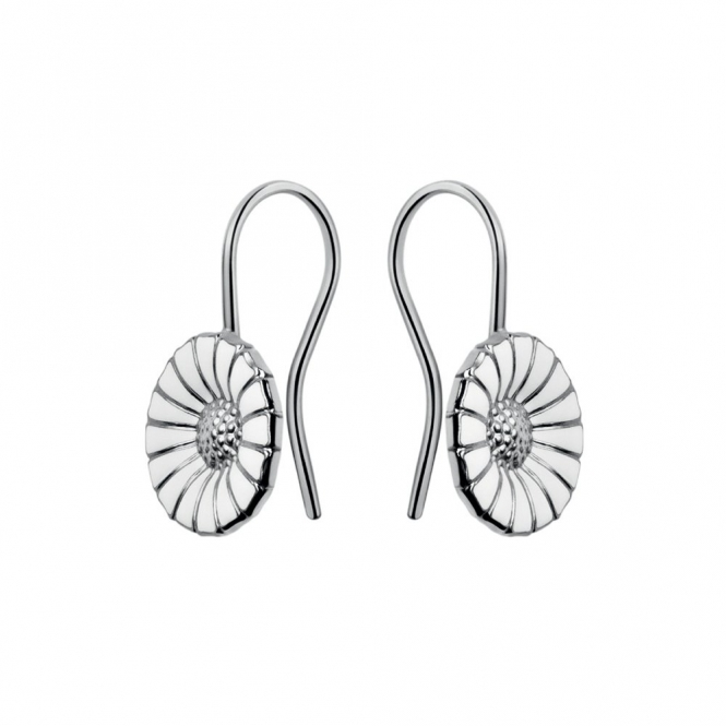 Sterling Silver Daisy White Enamel Earrings