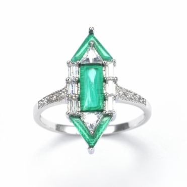 Sterling Silver Deco Emerald City Ring