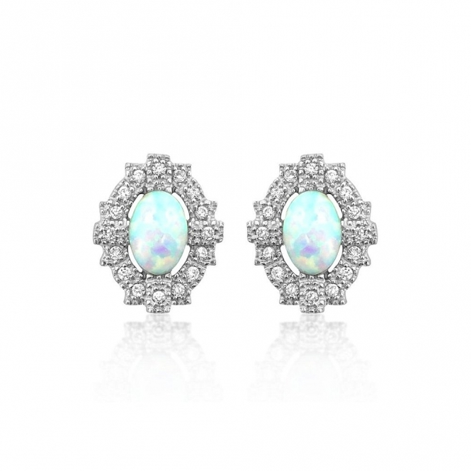 Sterling Silver Deco Synthetic Opal Empire Earrings